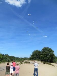 Het nakijken van de ballonnen bij een verstrooiing